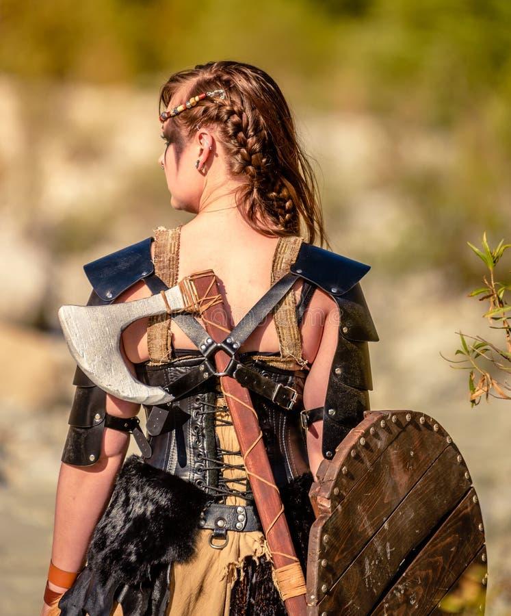 Weiblicher Viking Character stockfoto