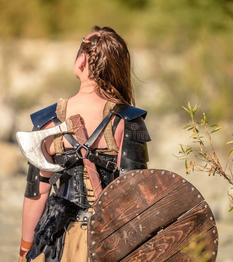 Weiblicher Viking Character stockbild