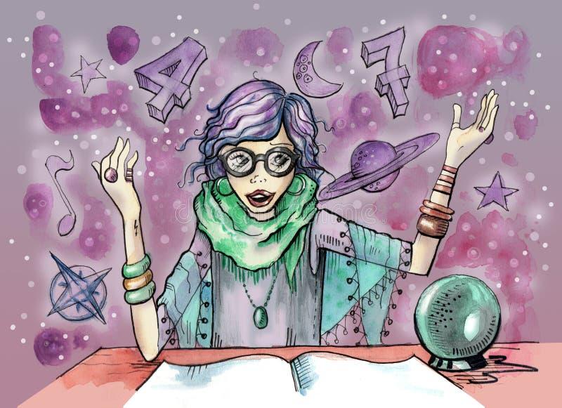Weiblicher Wahrsager mit Glaskugel und Magiesymbole ganz um sie stock abbildung