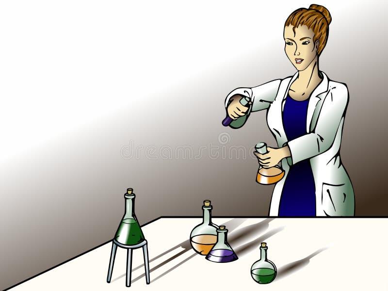 Weiblicher Wissenschaftler im Labor vektor abbildung