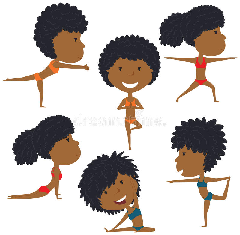 Download Weiblicher Yogasatz vektor abbildung. Illustration von leute - 90236688
