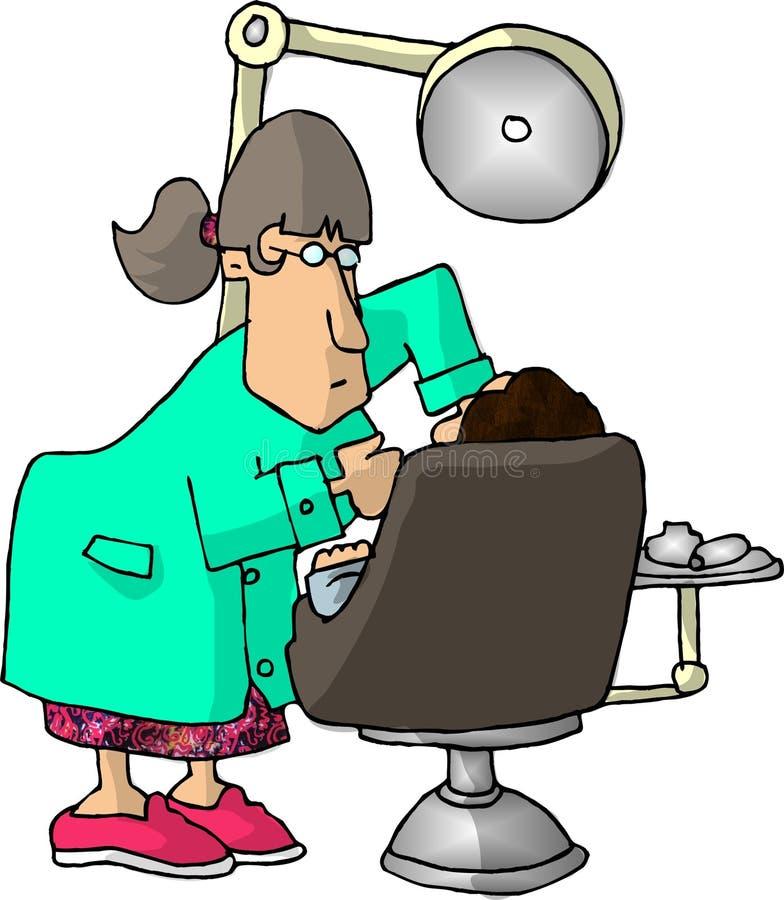 Weiblicher Zahnarzt stock abbildung