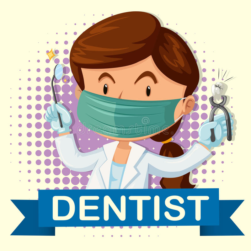 Weiblicher Zahnarzt mit dem Zahn und den Werkzeugen vektor abbildung