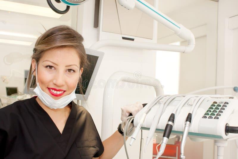Weiblicher Zahnarztabschluß oben lizenzfreie stockbilder