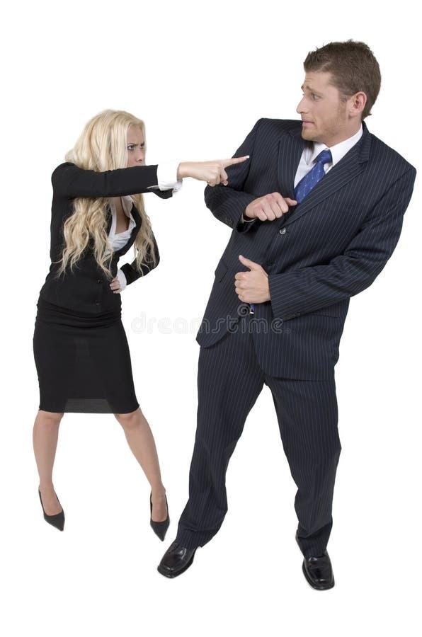 Weiblicher Zeigefinger in Richtung zum Mann lizenzfreie stockfotos