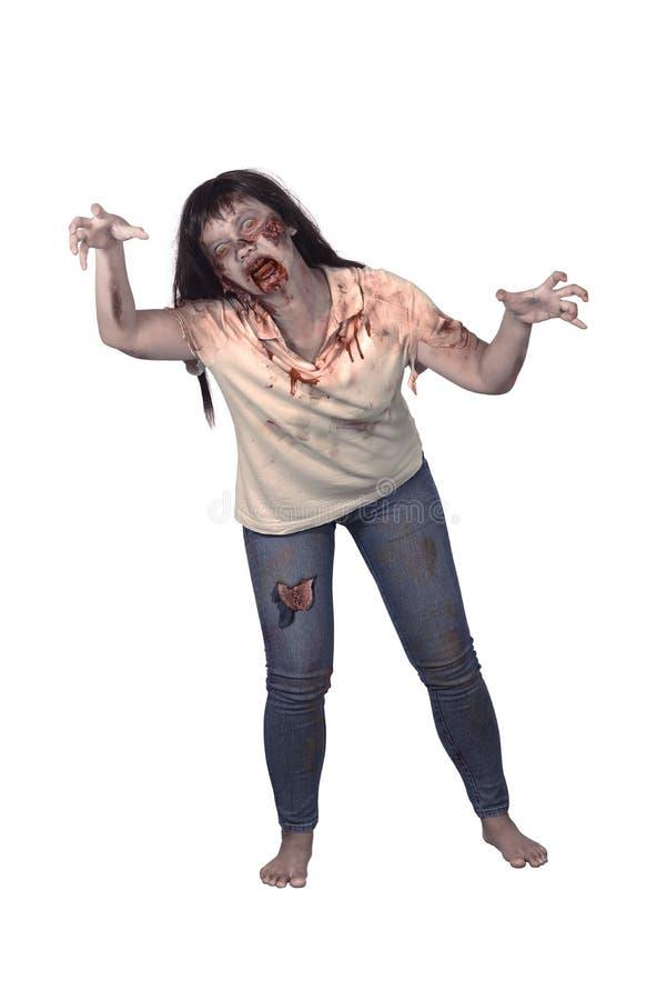 Weiblicher Zombie lokalisiert über weißem Hintergrund lizenzfreie stockbilder