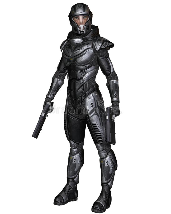 Weiblicher Zukunftsroman-Soldat - stehend vektor abbildung