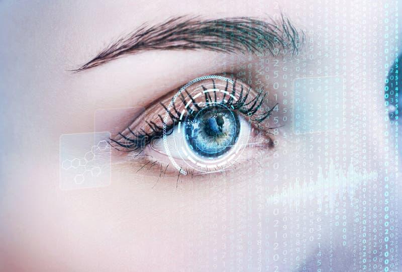 Weibliches Auge Digital im Prozess des Scannens lizenzfreie stockbilder