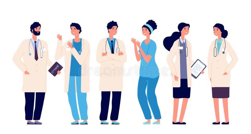 Weibliches behilfliches Schreiben auf der Tastatur und M?nnern, die auf Klemmbrett schreiben Doktorkrankenschwestertherapeutchiru vektor abbildung