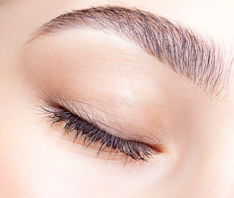 Weibliches geschlossenes Auge und Brauen mit Tagesmake-up lizenzfreie stockfotos