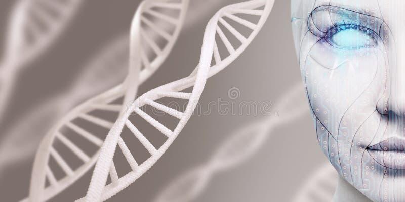 Weibliches Gesicht des schönen Cyborg unter DNA-Stämmen stockfotos