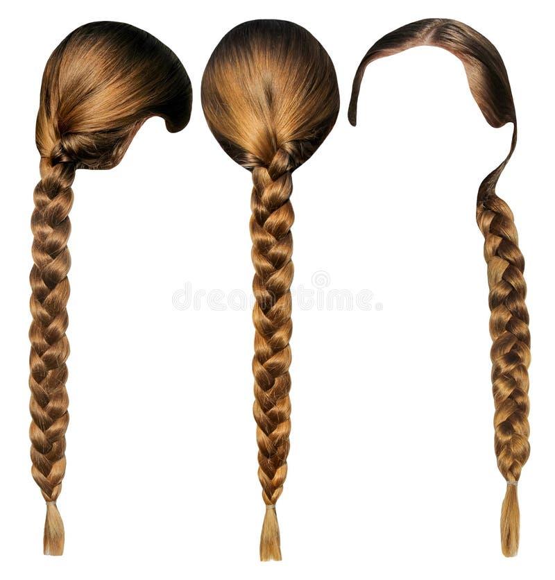 Weibliches Haar mit einem Zopf lokalisierten Satz Kopf mit dem Haar von den verschiedenen Seiten stockfotos