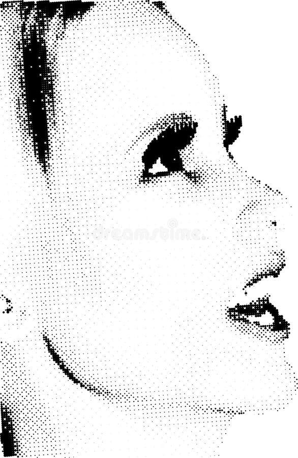Weibliches Halbtongesicht stock abbildung