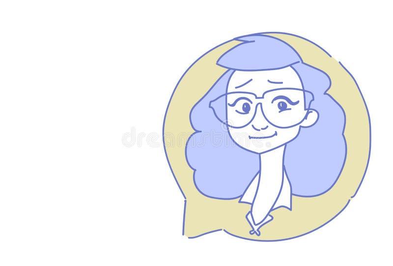 Weibliches Hauptchatblasenprofilikonenfrauenavatara-Beistandsservice-Call-Center-Konzeptskizzengekritzel-Charakterporträt vektor abbildung