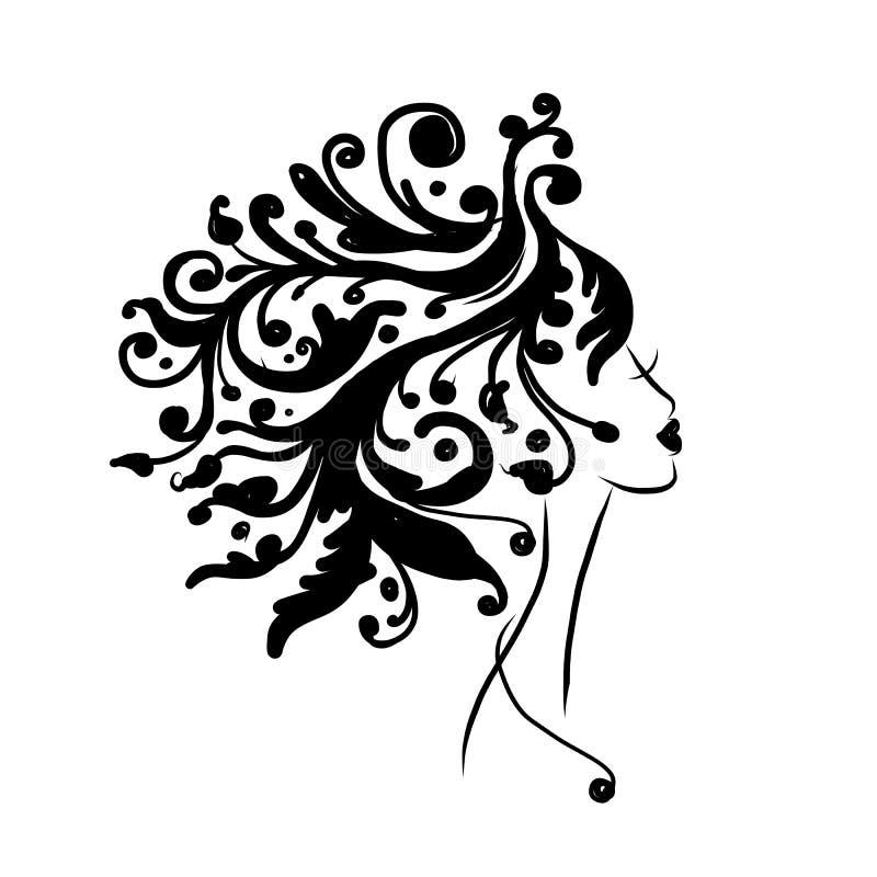 Weibliches Hauptschattenbild für Ihren Entwurf vektor abbildung