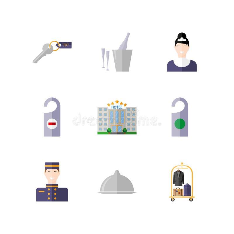 weibliches Haushaltungsarbeitskraftmädchen, das Bett mit Bettzeug am Gasthausraum macht ikone Auch im corel abgehobenen Betrag stock abbildung