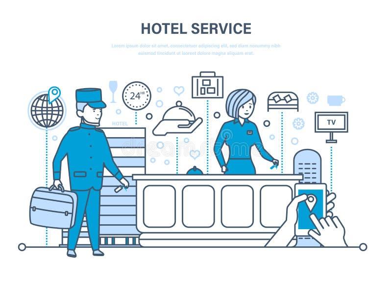 weibliches Haushaltungsarbeitskraftmädchen, das Bett mit Bettzeug am Gasthausraum macht Leute, die im Hotel, Aufnahme arbeiten Fe stock abbildung