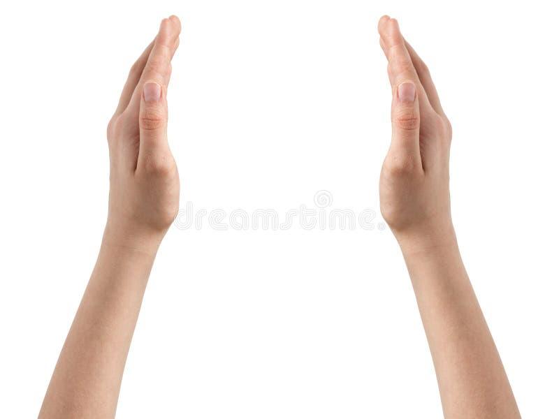 Weibliches jugendlich Handshow-Schutzkonzept stockfoto