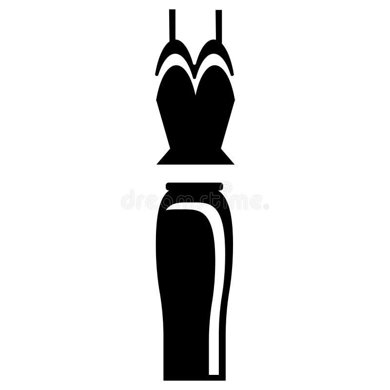 Weibliches Kleiderikonenvektorzeichen und -symbol lokalisiert auf weißem Hintergrund, weibliches Kleiderlogokonzept stock abbildung