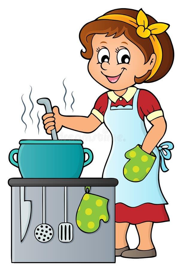 Weibliches Kochthemabild 2 lizenzfreie abbildung