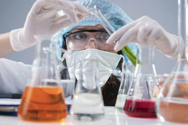 Weibliches Laborpersonal in der Gesichtsmaske und in den Schutzhandschuhen, die Experiment mit Flüssigkeiten leiten stockbilder