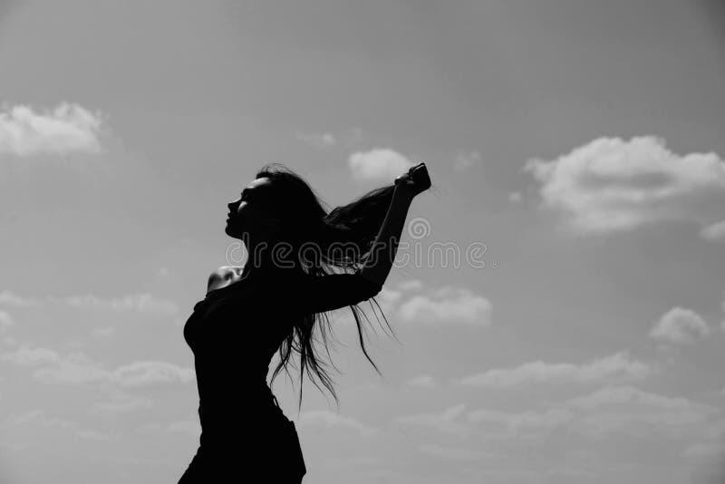 Weibliches Modelldarstellen lang, gesundes, brunette Haar stockfoto