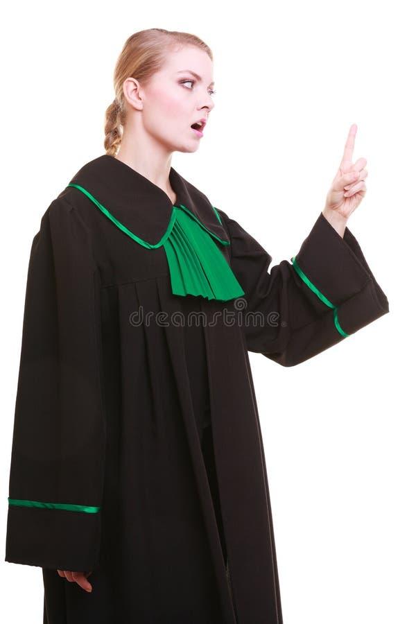 Weibliches Rechtsanwaltklassiker-Politurkleid, das ihrem Fingerschelten droht stockbilder