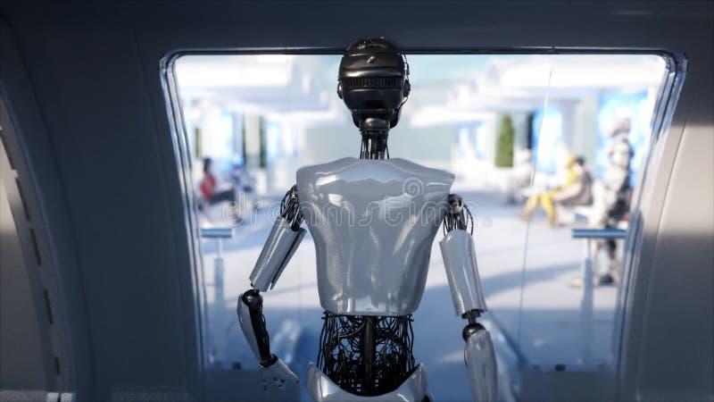 Weibliches Robotergehen Sci FI-Station Futuristischer Einschienenbahntransport Konzept von Zukunft Leute und Roboter Wiedergabe 3 lizenzfreie abbildung