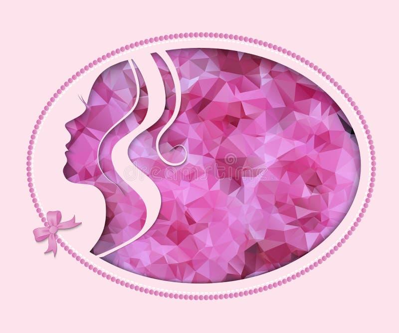 Weibliches Schattenbild im Rosa lizenzfreie abbildung