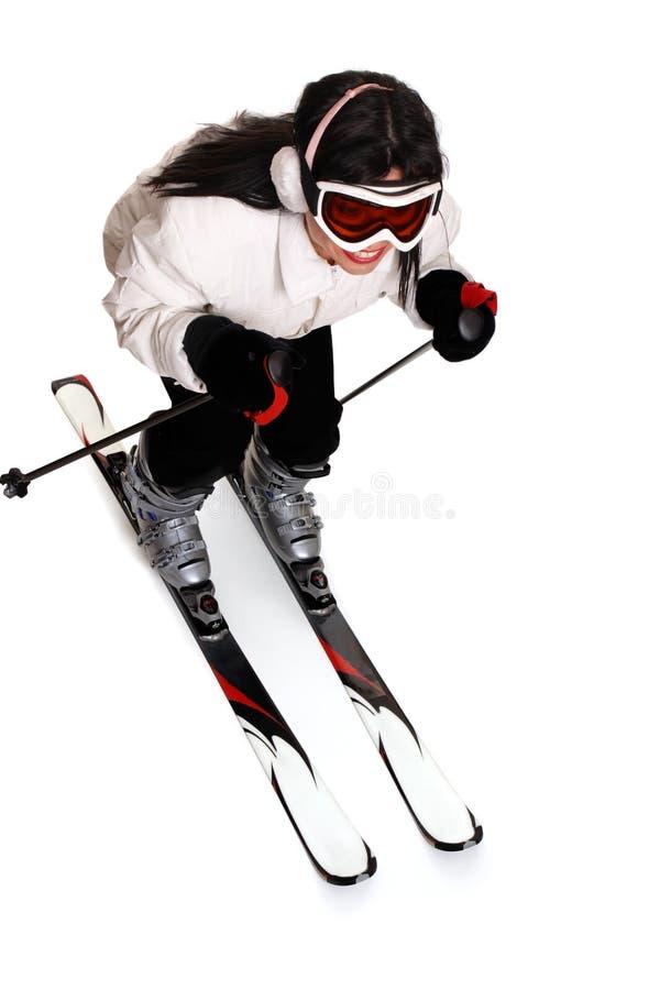 Weibliches Skifahren stockfoto