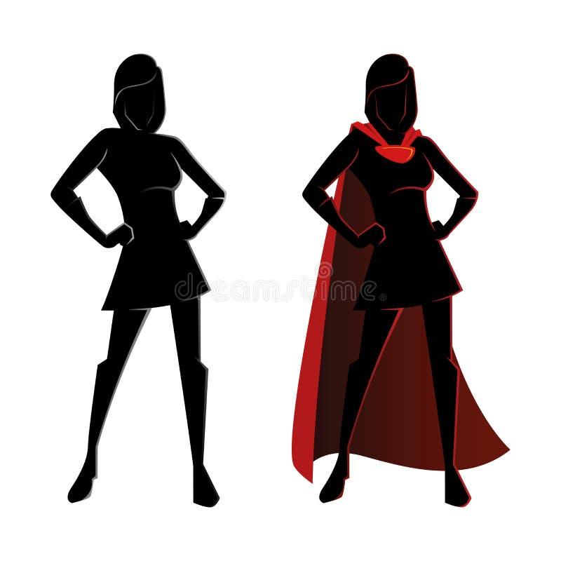 Weibliches Superheld-Schattenbild lizenzfreie abbildung