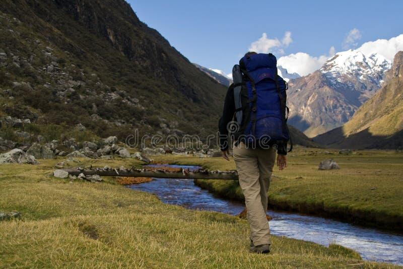 Weibliches Trekking stockbilder