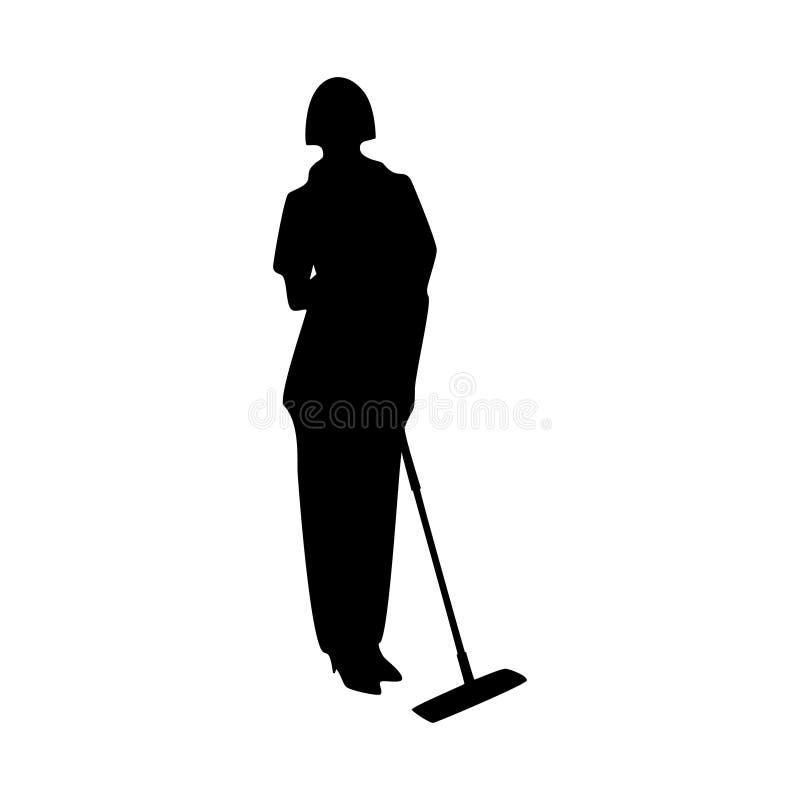 Weibliches Vektorschattenbild des Hausmeisters auf weißem Hintergrund vektor abbildung