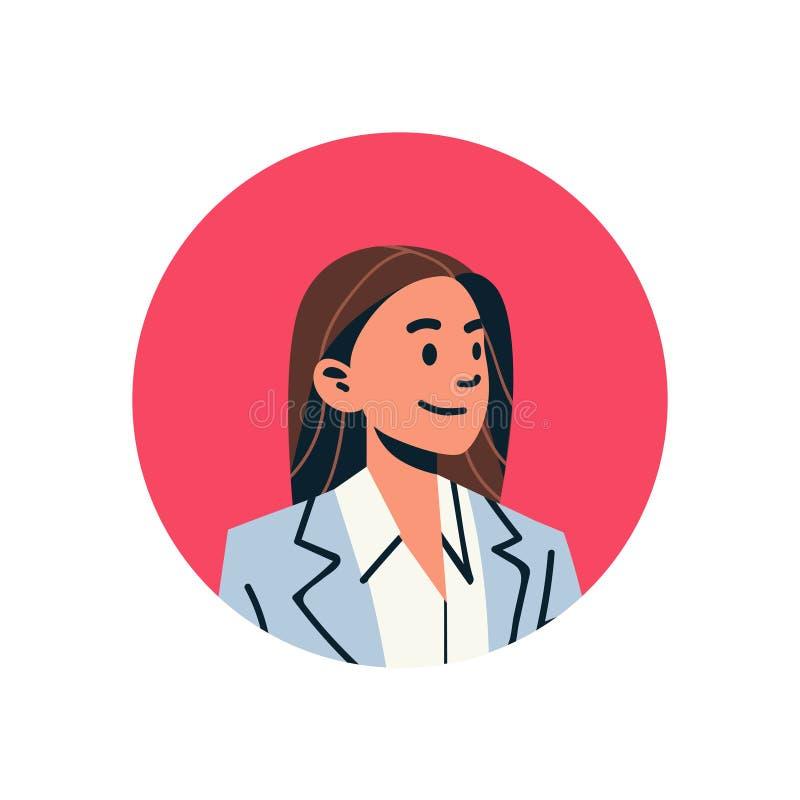 Weibliches Zeichentrickfilm-Figur-Porträt des Brown-Haargeschäftsfrauavatarafrauengesichtsprofilikonenkonzepton-line-Beistandsser vektor abbildung