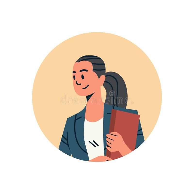 Weibliches Zeichentrickfilm-Figur-Porträt des Brunettegeschäftsfrauavatarafrauengesichtsprofilikonenkonzepton-line-Beistandsservi stock abbildung