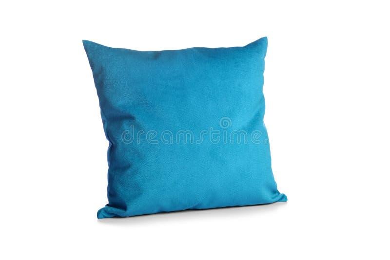 Weich blaues Kissen auf weißem Grund isoliert stockfotografie