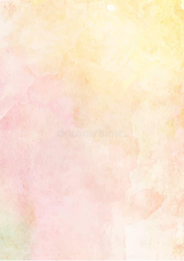 Weich gelber und rosa Aquarellpapierhintergrund vektor abbildung