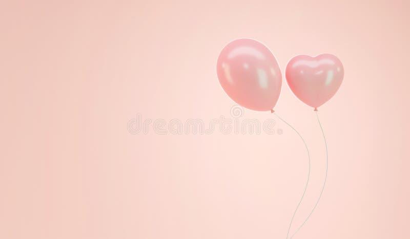 Weich rosa Pastellballon Runde und Herzform stock abbildung