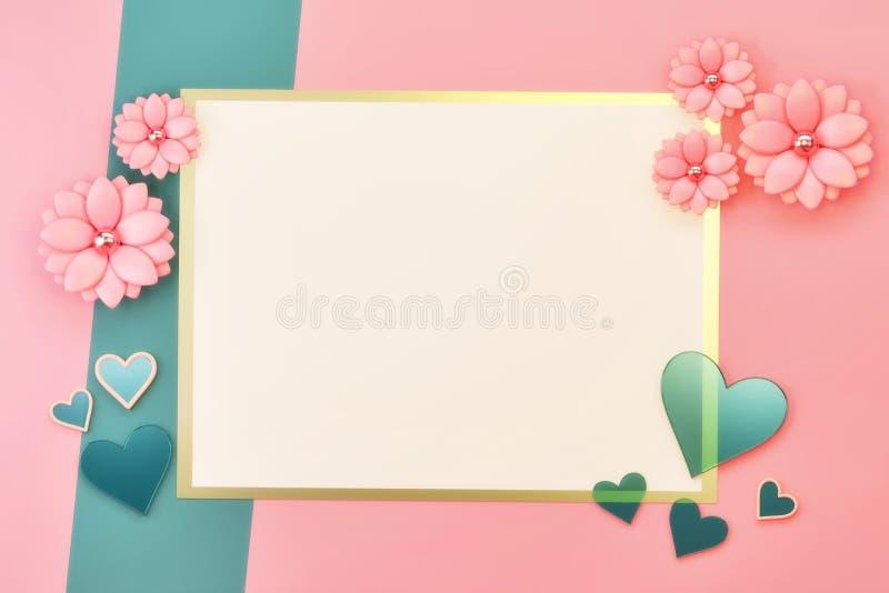Weich rosafarbene, pastellfarbene Flat Lay lizenzfreie abbildung