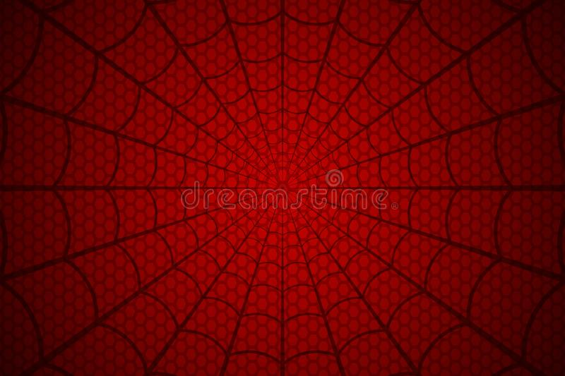 Weiche blaue Tönung Spinnennetz auf rotem Hintergrund Auch im corel abgehobenen Betrag stock abbildung