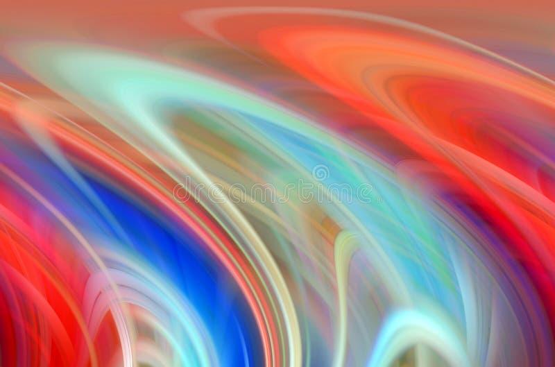 Weiche Linien, orange flüssige weiche Linien des blauen Rotes, bunter abstrakter Hintergrund, abstrakte Formen und Geometrie lizenzfreie abbildung