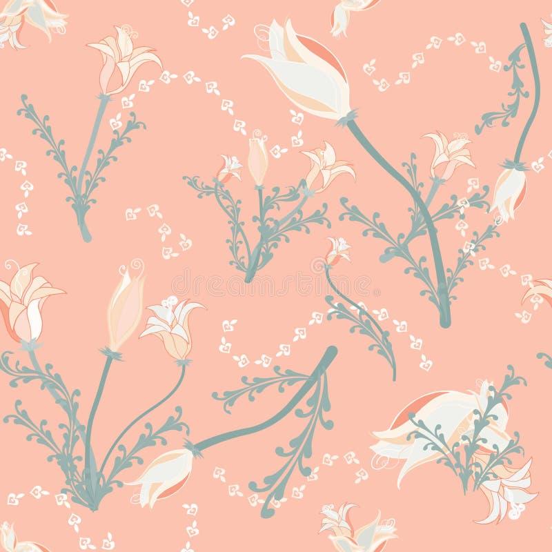 Weiche Pastellblumen auf Pfirsichhintergrund vektor abbildung