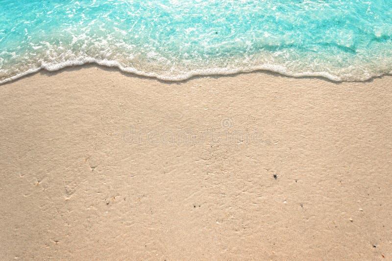 Weiche Wellen mit Schaum von blauem Ozean auf dem sandigen Strand lizenzfreies stockfoto