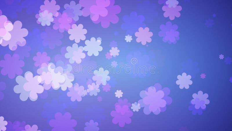 Weicher blauer Blumenhintergrund Purpurrote Blumen, die heraus auf blauer Steigung verbreiten vektor abbildung