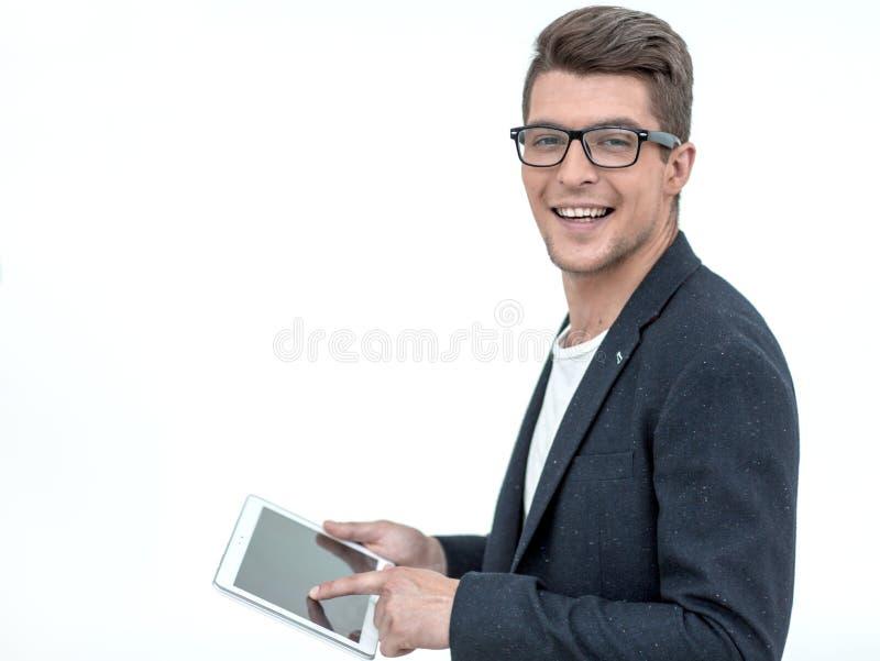 Weicher Fokus Junger Geschäftsmann Using Digital Tablet stockfotos