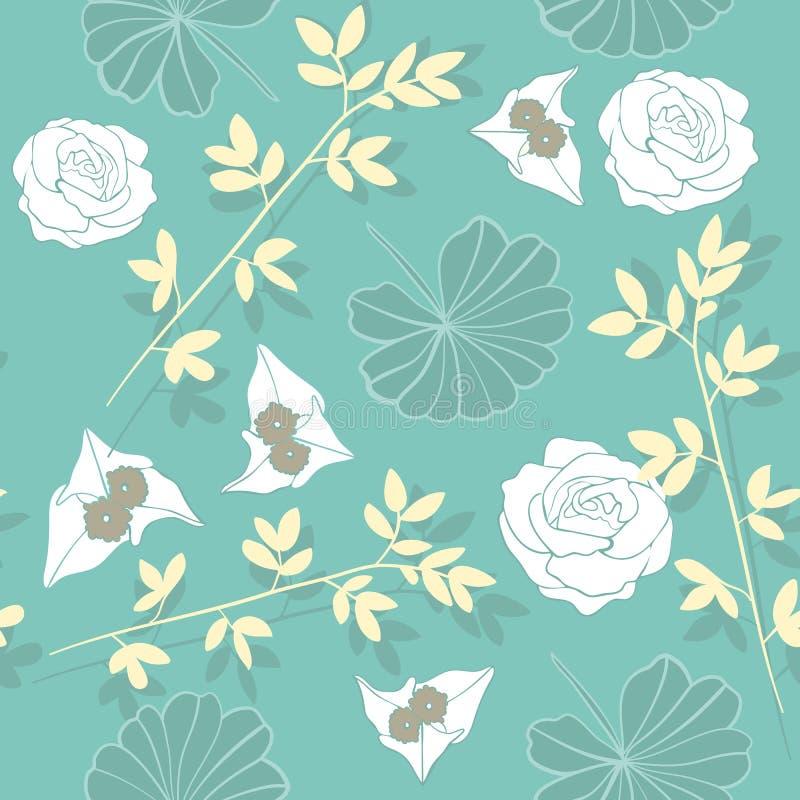 Weicher Teal Floral Repeat Seamless Pattern-Vektor lizenzfreie abbildung