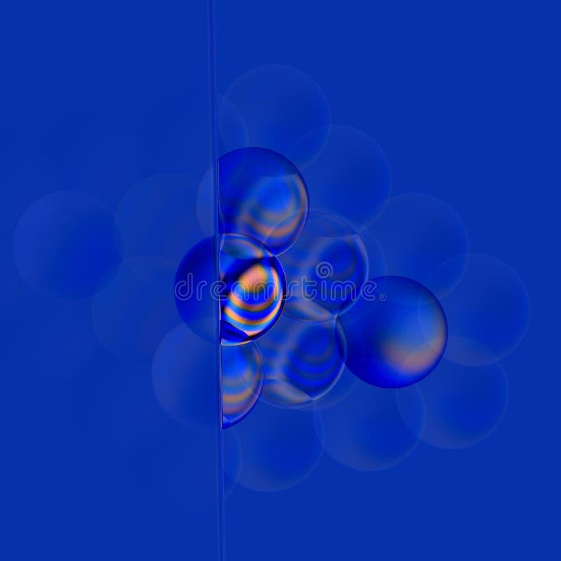 Weiches Filter-Konzept Abstrakte Blasen des Blau-3d Türkis farbige lichtdurchlässige Seifenblase Glasige runde Elemente Digital vektor abbildung