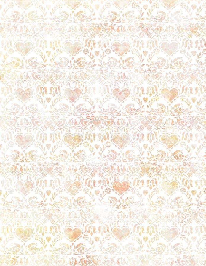 Weiches Grungy Herz und Vogel der Weinlese tapezieren Muster im Pastell stockbild