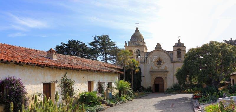 Weiches Nachmittags-Licht bei Carmel Mission, Carmel, Big Sur, Kalifornien stockfotos