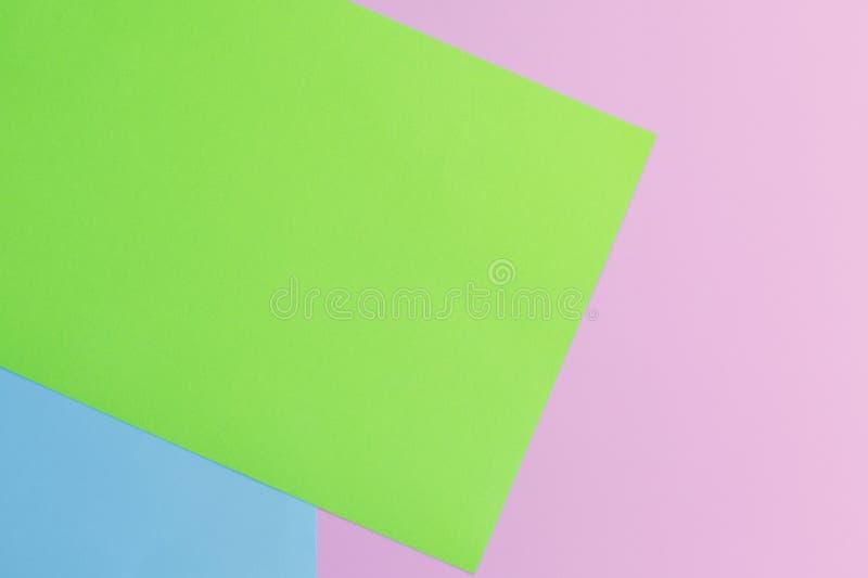 Weiches Rosa-, Grünes und Blauespapier als Beschaffenheitshintergrund Minimales Konzept Kreatives Konzept Pop-Art Helle süße Mode lizenzfreies stockbild